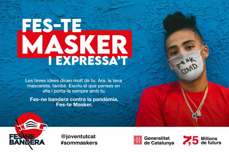 Joventut inicia la campanya #sommaskers per incrementar l'ús de la mascareta entre el jovent català i millorar la prevenció dels contagis. Departament de Treball, Afers Socials i Famílies